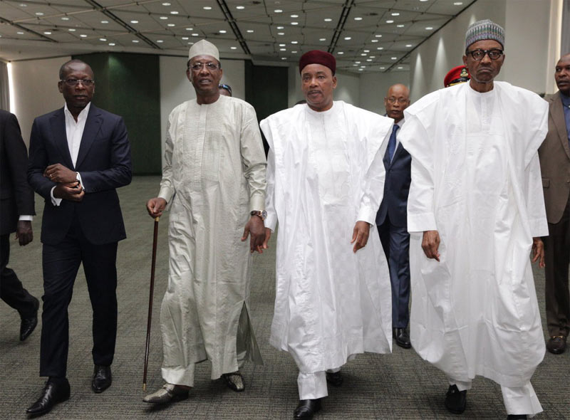 Buhari pictured with presidents of Chad, Benin and Niger Republic in Abuja