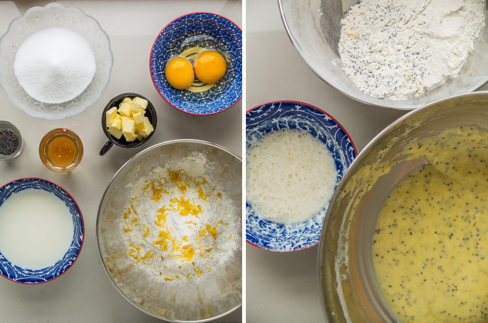 Ingredients and making of lemon cupcake batter.