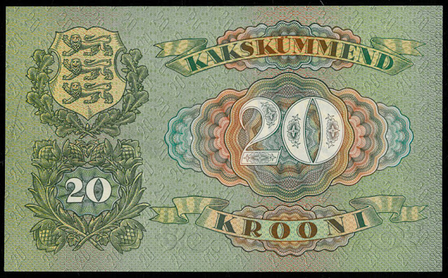 Currency Estonia 20 Estonian Krooni banknote bill