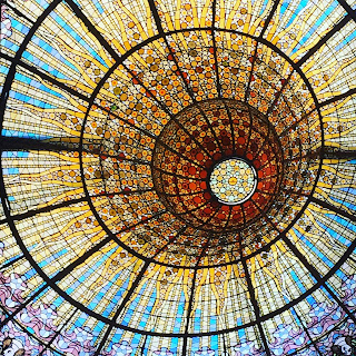 The glow worm in the roof of the Palau de la Musica, Barcelona