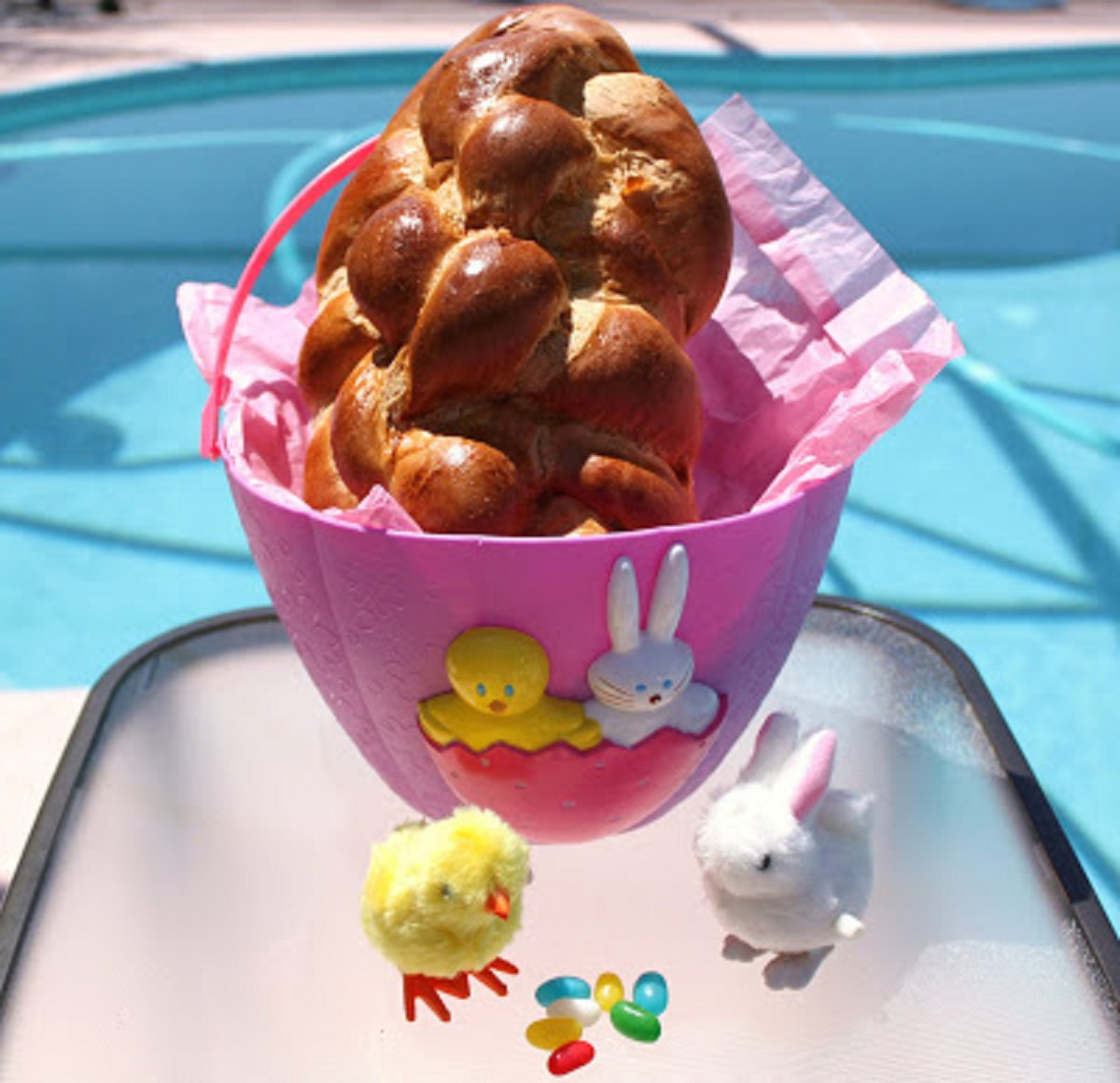 Braided Easter Bread in an Easter Basket with Bunnies
