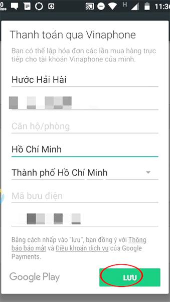 Hướng dẫn thanh toán trên Ch Play bằng thẻ sim VinaPhone g