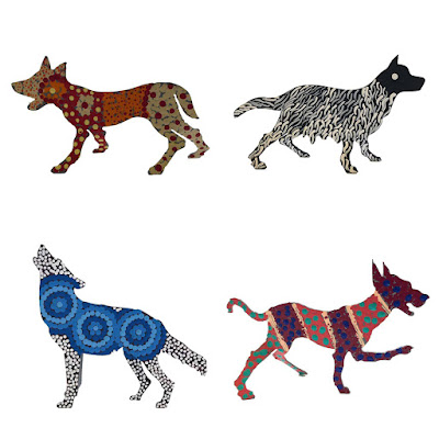 Colourful-metal-dog-ornaments-handcrafted-by-Warlukurlangu-artists
