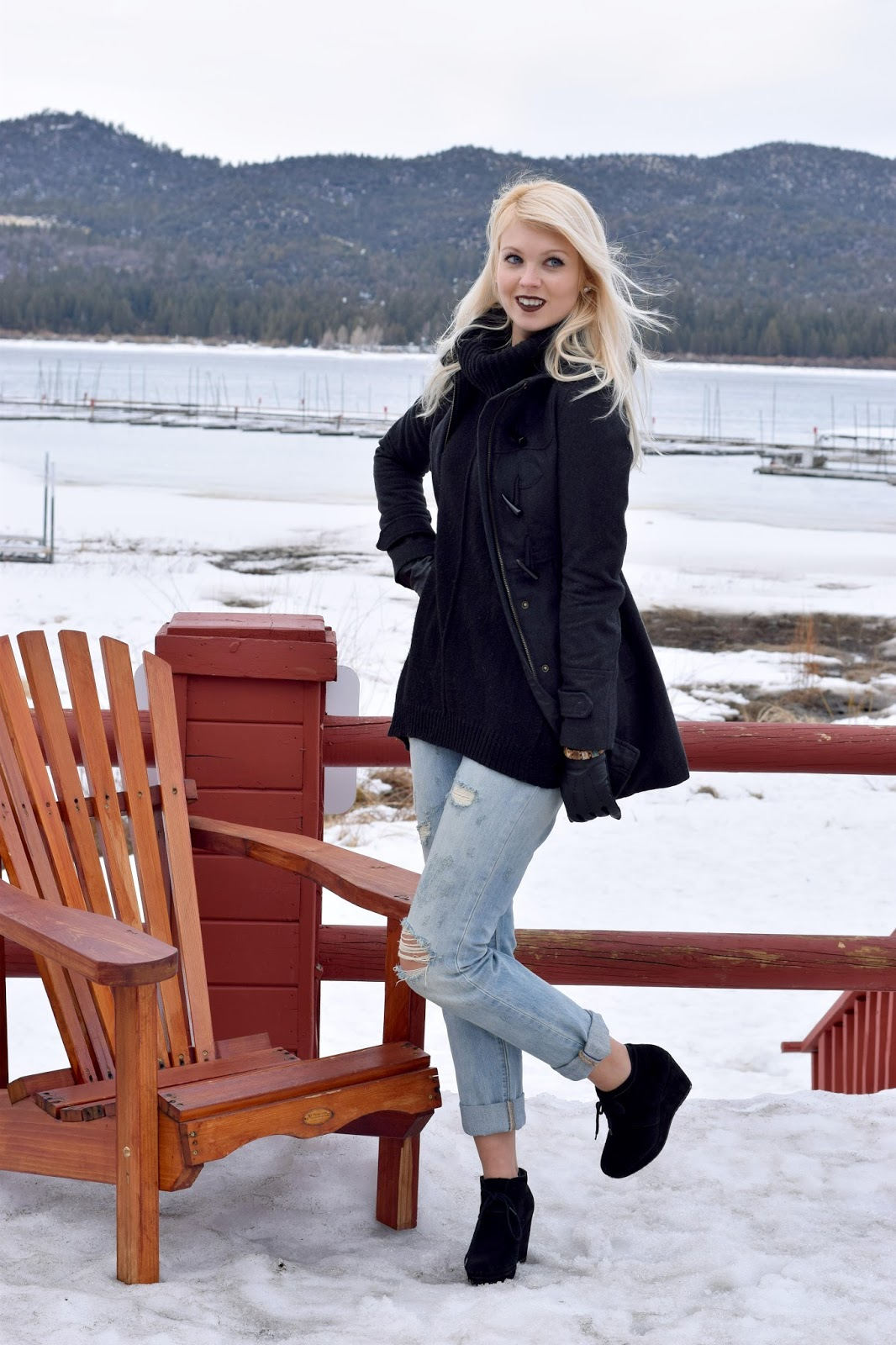 big bear, turtleneck sweater, black, wedge