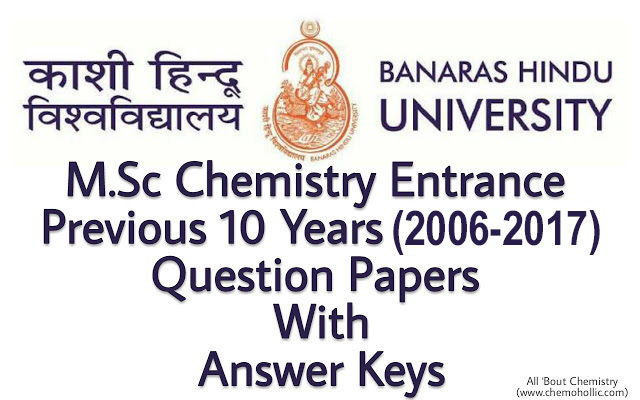 BHU PET M Sc Chemistry Entrance Question Papers with Answer Keys