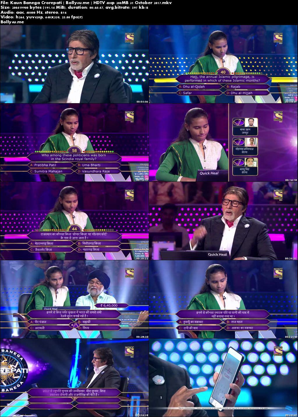 Kaun Banega Crorepati HDTV 480p 200MB 31 October 2017 Download