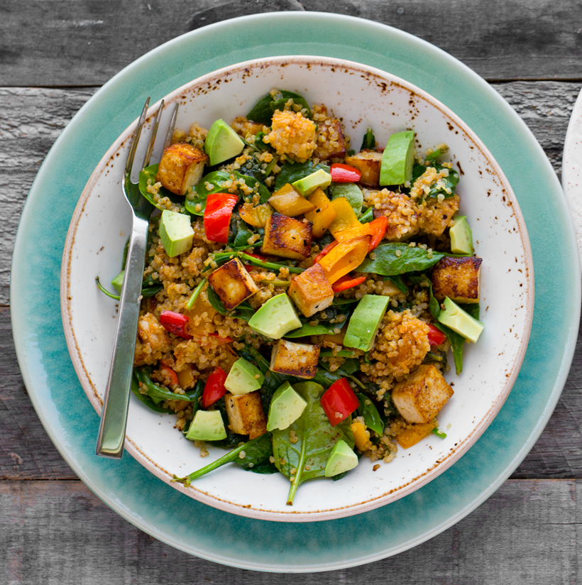 Spicy Southwest Tofu Quinoa Bowl with Medjool Date Lime Dressing