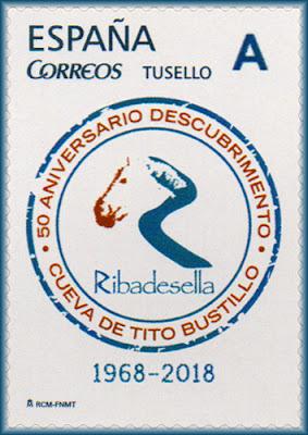 Sello personalizado del 50 aniversario del descubrimiento de las pinturas de la cueva de Tito Bustillo Ribadesella