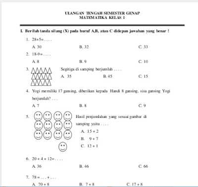 Soal-Soal Ujian Tengah Semester Ii (Uts) Untuk Sekolah Dasar Terlengkap, Link Valid Untuk Kelas 1,2,3,4,5,6