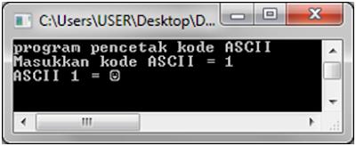 Program pencetak kode ASCII dengan bahasa C