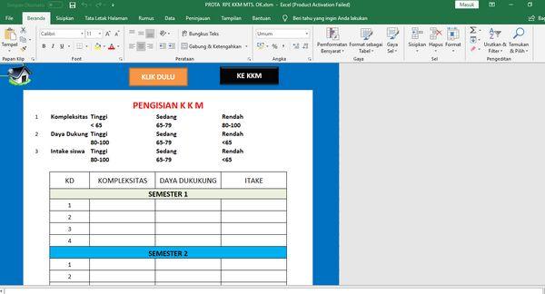 Kolom Isian KKM di Aplikasi Pembuat Prota Promes KKM Format Excel