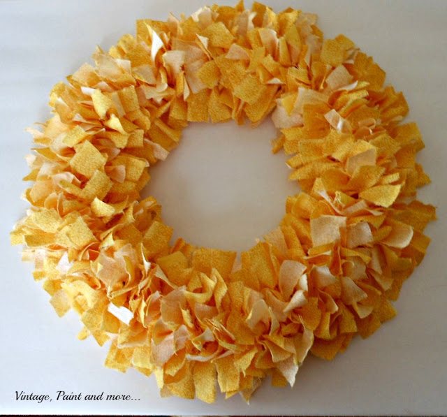 Vintage Paint and more... a diy wreath made with strips of fabric and a wire wreath form