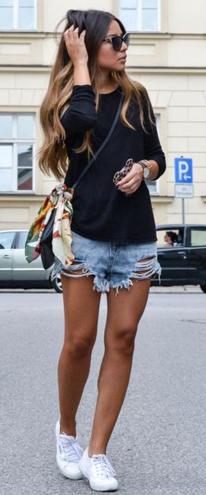 street style outfit: top + bag + shorts