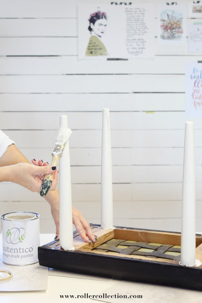 Taburete con chalk paint y roller collection