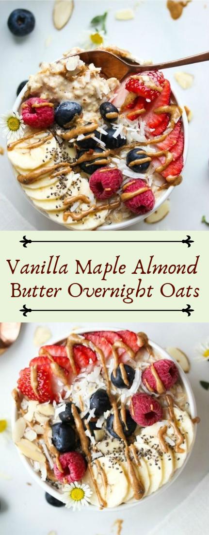 Vanilla Maple Almond Butter Overnight Oats #desserts #cakerecipe