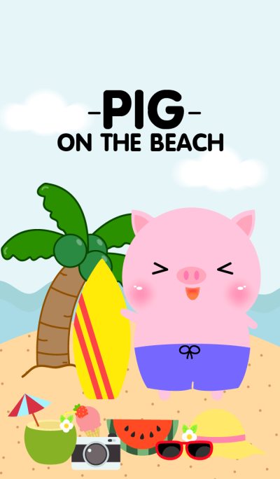 Pink Pig on the beach Theme