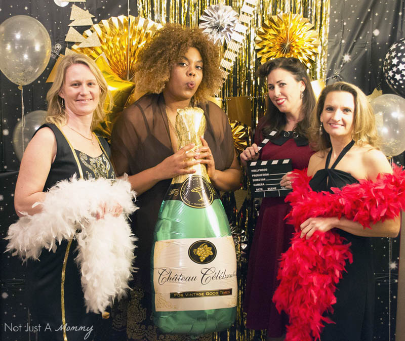 How To Host A Girls' Oscar Night Out Viewing Party; have fun with props in your photobooth area
