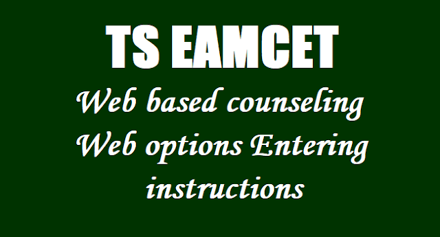 TS EAMCET 2019 Web based counseling-Web options Entering instructions