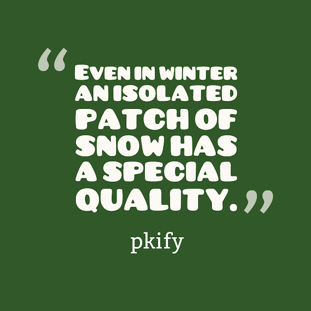 Even in Winter an Isolated Patch of Snow Has a Special Quality Nature Quotes