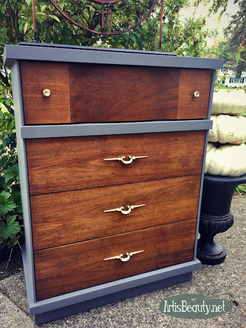 mcm mid century mod driftwood gray general finishes milk paint makeover before and after diy artisbeauty.net bohochic