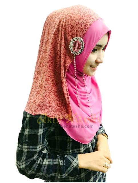 Natasha Arissa instant shawl fabrik moss crepe gabungan warna memukau