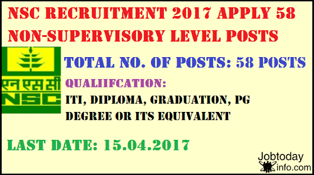National Seeds Corporation Limited (NSC) Recruitment 2017 – 58 posts of Trainee,  India Seeds Recruitment 2017: National Seeds Corporation Limited (NSCL), NSCL Recruitment 2017,National Seeds Corporation Recruitment 2017 Trainee 58 posts