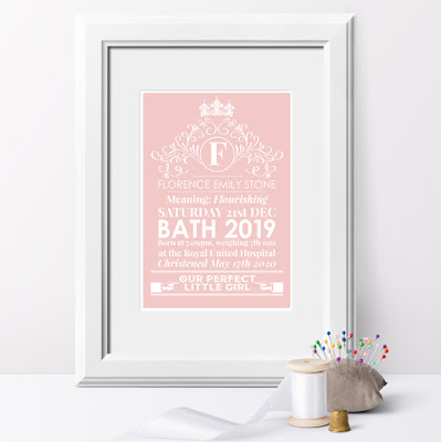 Heritage personalised meaning of name print in pink, nursery art from PhotoFairytales.co.uk
