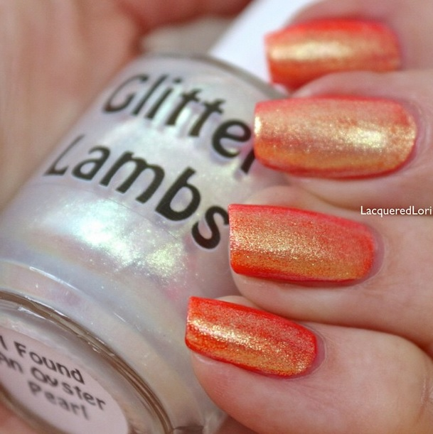 "Glitter Lambs ""I Found An Oyster Pearl""  Glitter Topper Nail Polish Worn By @LacqueredLori"