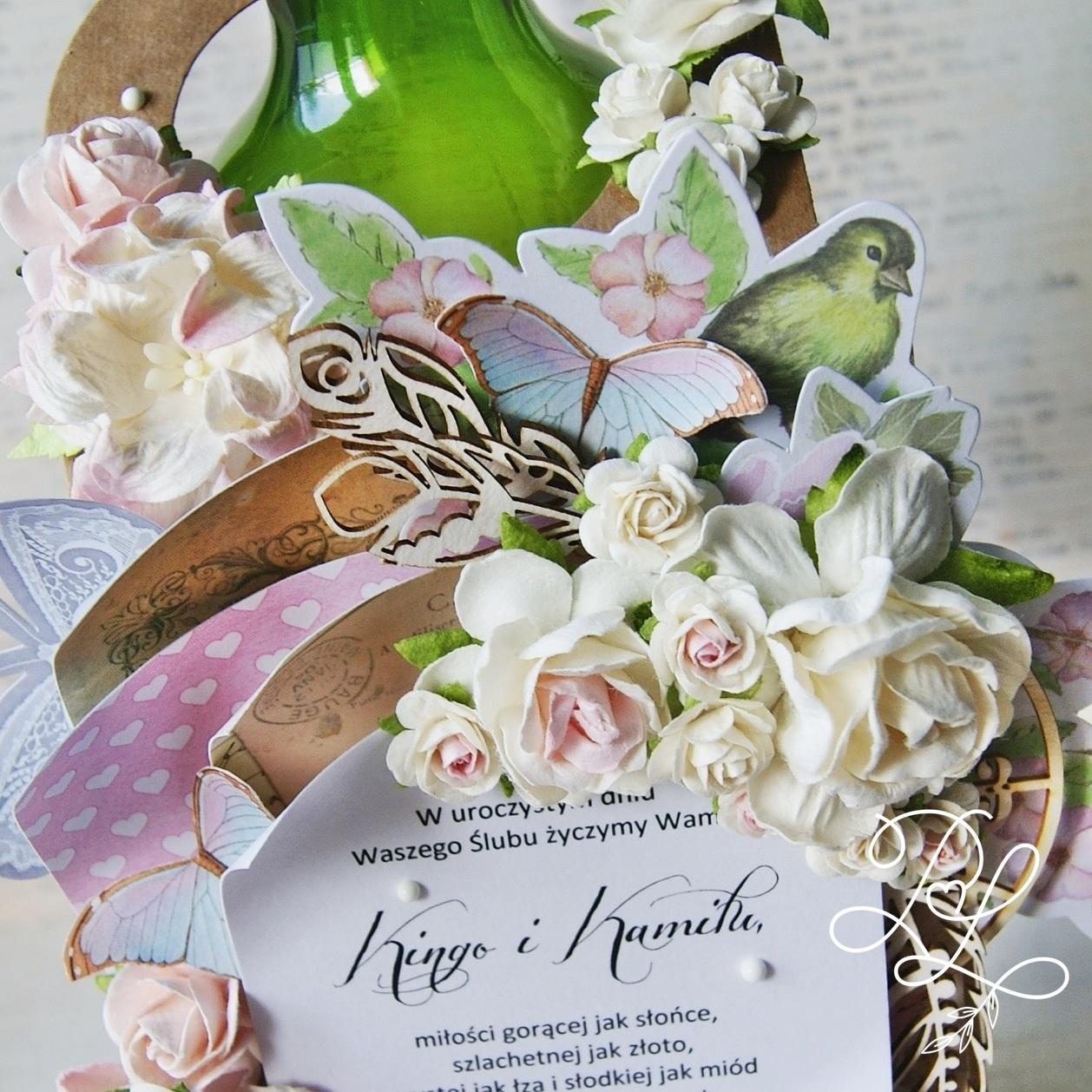 Etykieta - zawieszka na butelkę Papierowe Love - sklep papierniczy i pracownia rękodzieła Katarzyna Rajczakowska