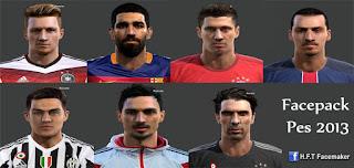 Faces: Arda Turan, Buffon, Dybala, Hummels, Ibrahimovic, Lewandowski, Reus, Pes 2013