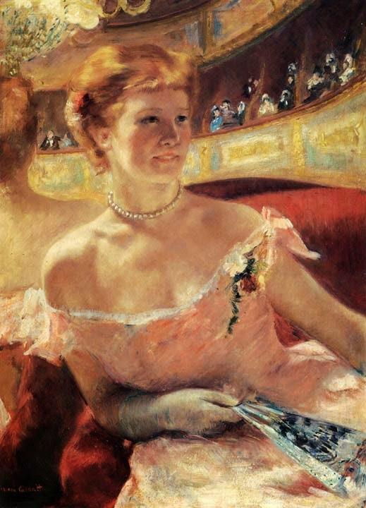 Mulher com um Colar de Pérola em um Loge - Pinturas de Mary Cassatt | Mulheres na pintura