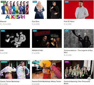 Screen capture from the Pesta Raya page on the Esplanade website, featuring theatre, music and dance acts as well as workshops.
