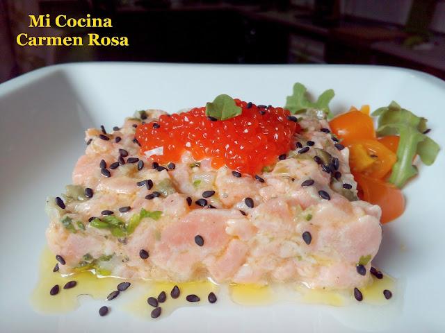 Tartar De Salmon Con Alcaparras, Cilantro Y Sus Huevas
