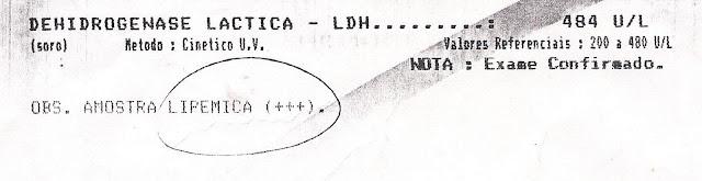 Resultado do meus exames (Paulo Rocha) feito no dia 27 de julho de 2003 - Dehidrogenase Lactica 484 U/L