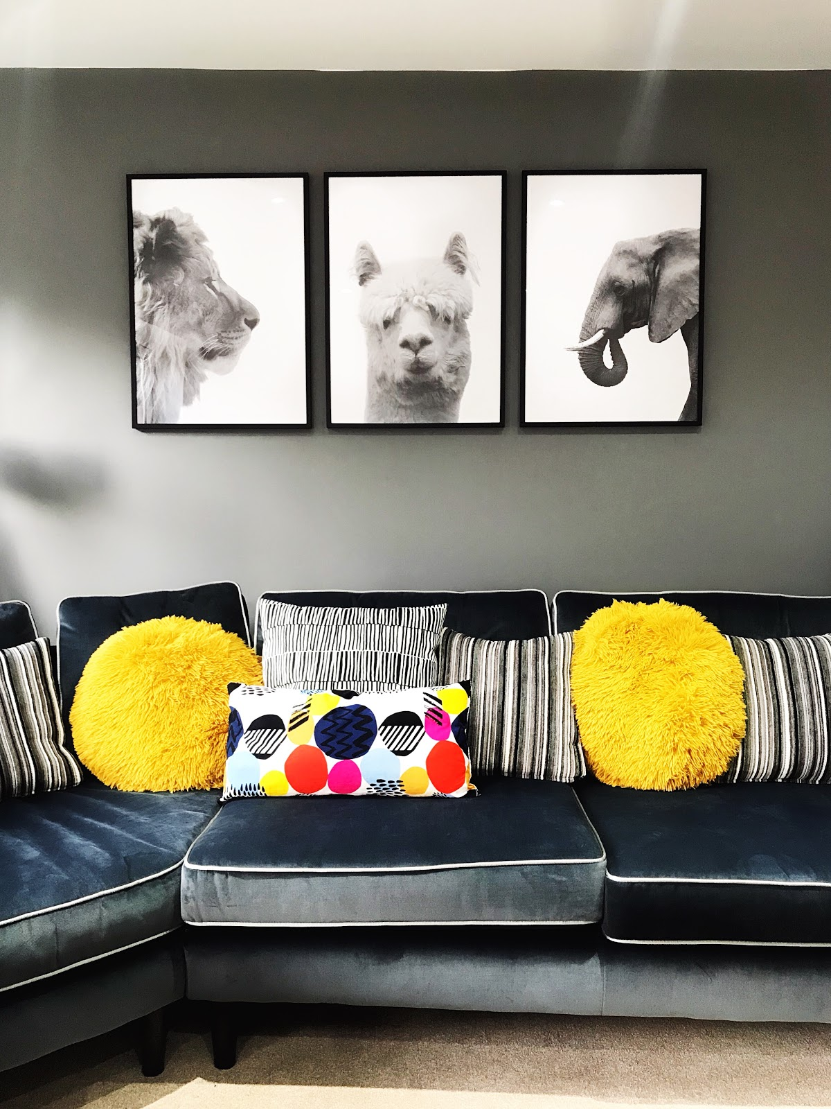 Grey and mustard living room