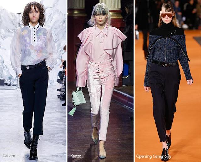 Укороченные брюки с завышенной талией образы с подиума