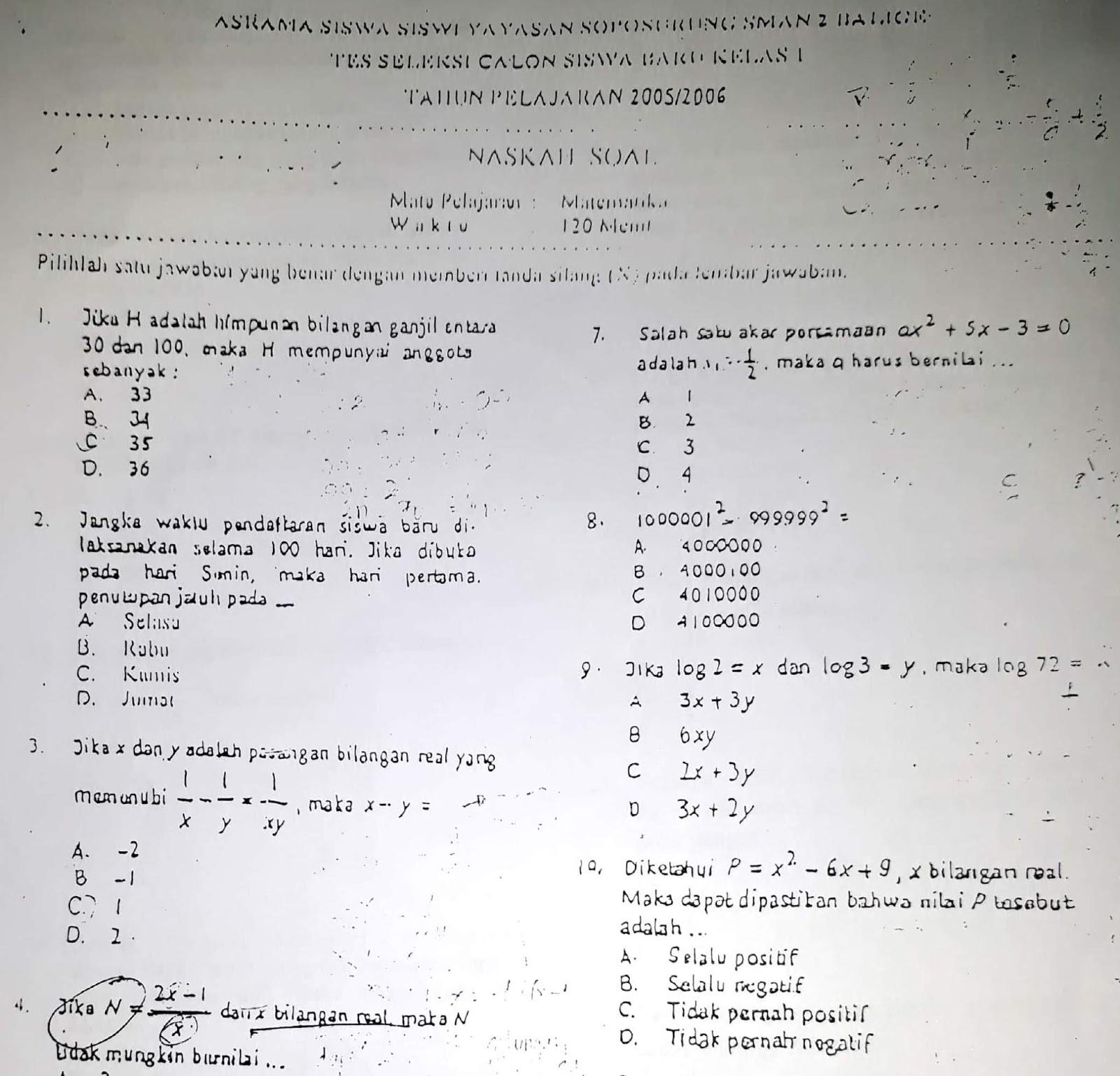 Matematika SMP, Seleksi Akademik Masuk Asrama YASOP SMAN 2 Balige 2005
