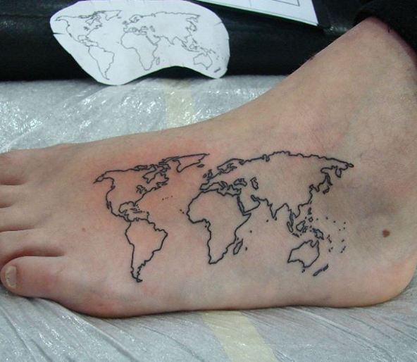 31 world map tattoos designs for travelers 2017 for World map tattoos