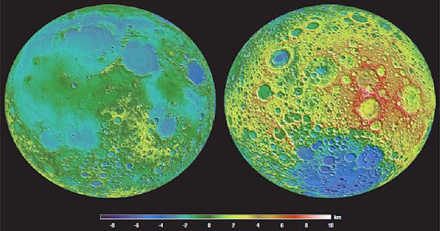 Topografía detallada de la cara visible (izquierda) y de la cara oculta (derecha) de la Luna.