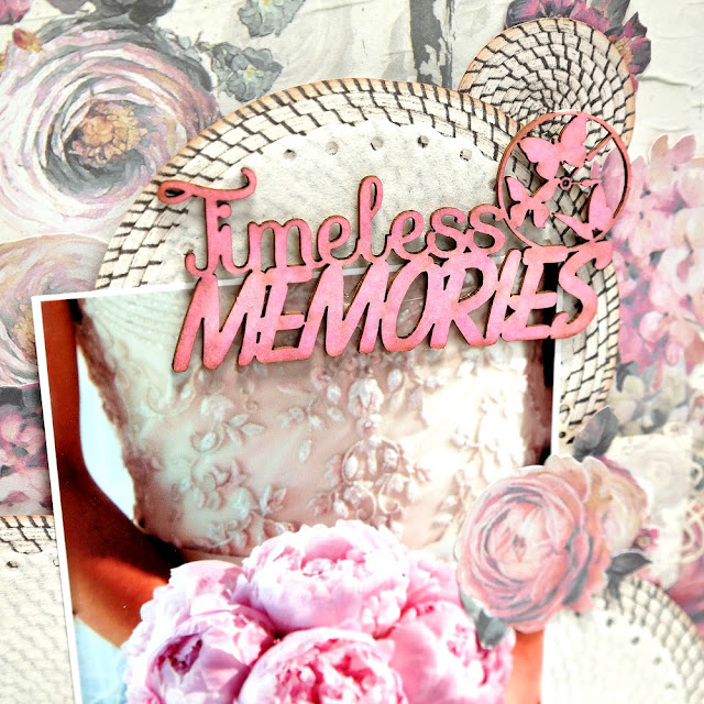 Timeless Memories Pink Wedding Layout Chipboard TItle by Dana Tatar for FabScraps