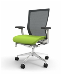 Office Chair with Green Seat and Charcoal Gray Mesh Back