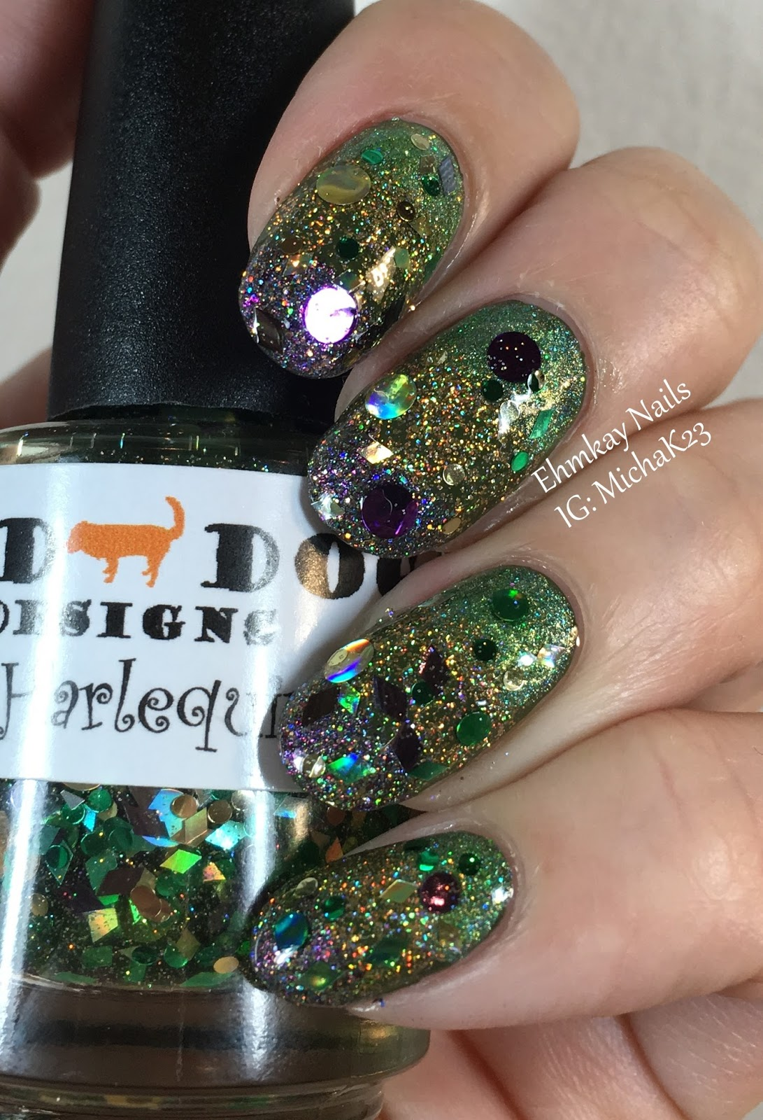 Ehmkay Nails Mardi Gras Nail Art Glitter Stripes With Indie Polish