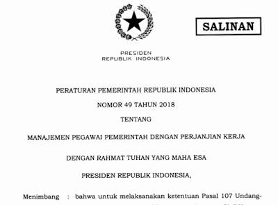 Peraturan Pemerintah Republik Indonesia Nomor 49 Tentang PPPK Tahun 2018