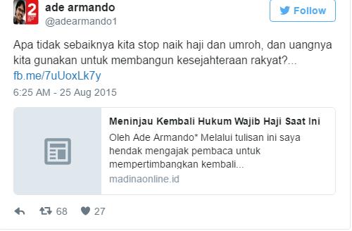 MAKIN BERULAH !!! Ade Armando Minta Haji dan Umroh Di STOP ... a4f10d329b