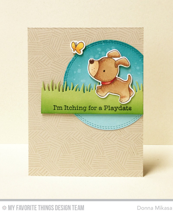 Handmade card from Donna Mikasa featuring Playful Pups and Birdie Brown Adorable Elephants stamp sets and Die-namics, Etched Tribal Background stamp, and Grassy Edges and Double Stitched Circle STAX Die-namics #mftstamps