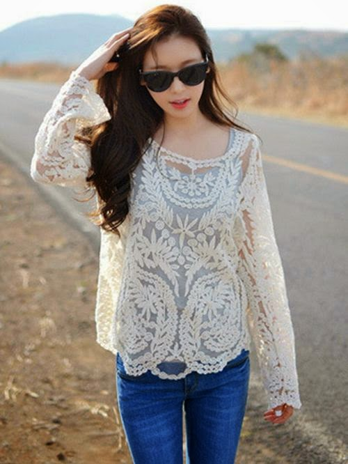 Sleeve Cotton Lace Shirt
