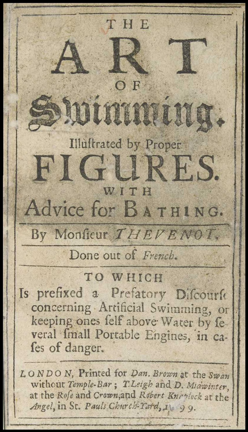 early modern swimming manual title page