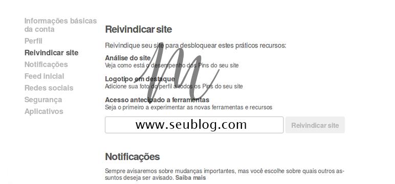 reivindicar o seu site