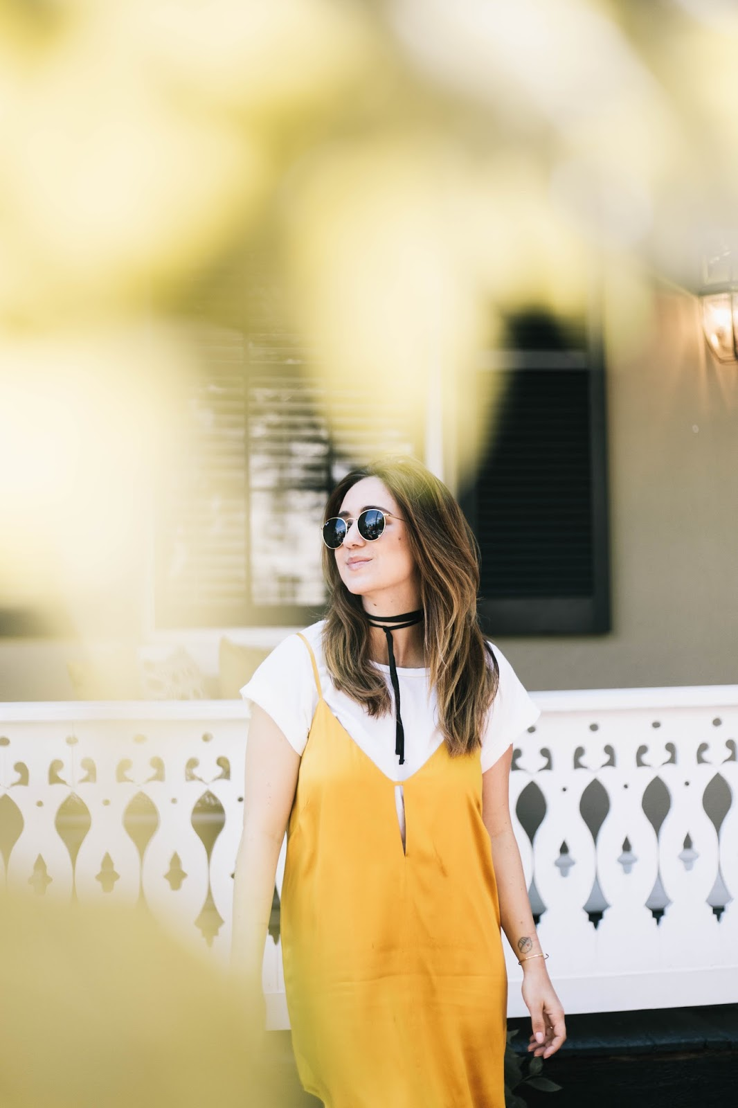 chloe, wedges, sale, fringe, marigold, dress, slip dress, tee shirt, diy choker, yellow, summer, outfit, style, fashion, blog, blogger, dc