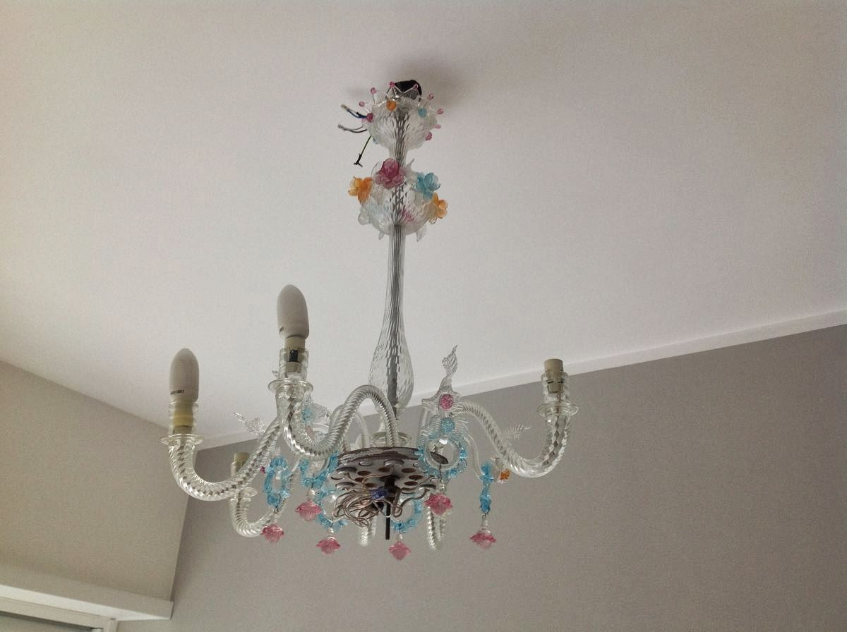 Chandelier In Murano Glass Broken With Missing Parts